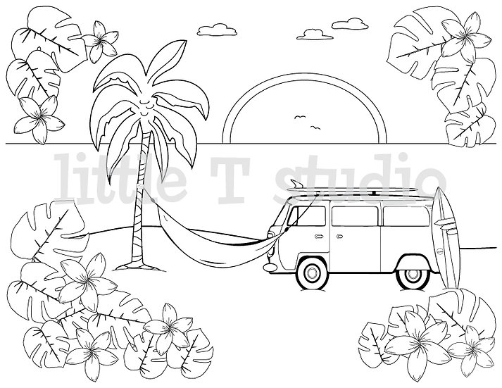 Beach Van Sunset Coloring Page