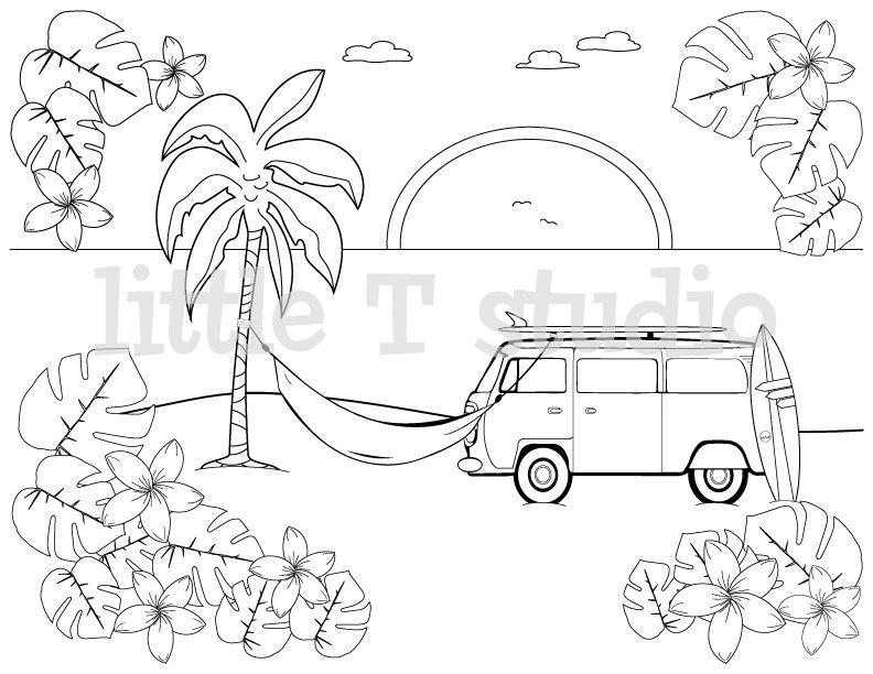 Beach Van Sunset Coloring Page Littletstudio