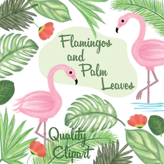 Flamingos & Palm Leaves Watercolor Clipart - Hand-Painted