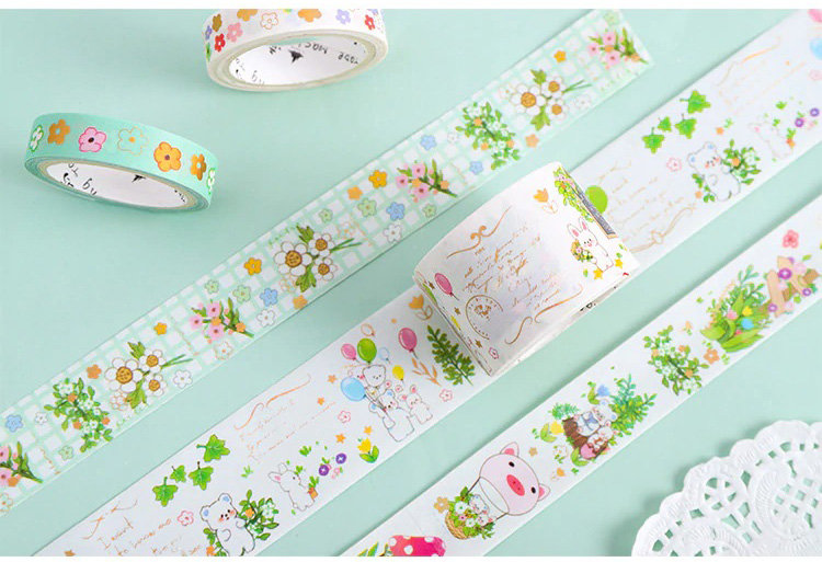 Washi Tape - Gold Foil Springtime Bunnies and Bears - Set of 5 Rolls