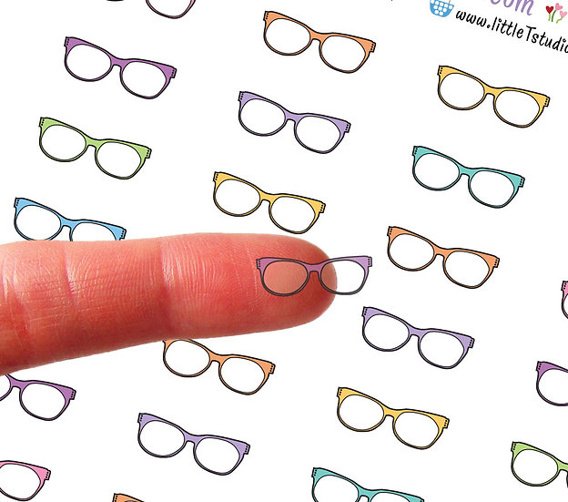 Clear Mini Study Glasses Stickers - Style 003CL