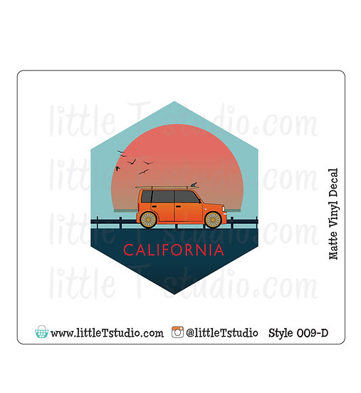 California Beach Travels - Vinyl Decal Matte Finish - Style 009-D