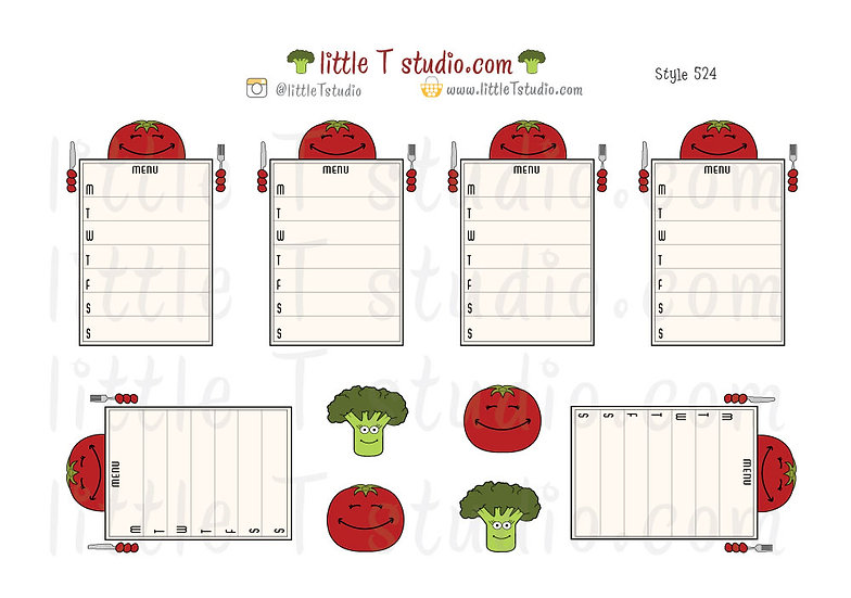 Joys of Life Meal Planning Weekly Menu Stickers - Tomato - Style 524