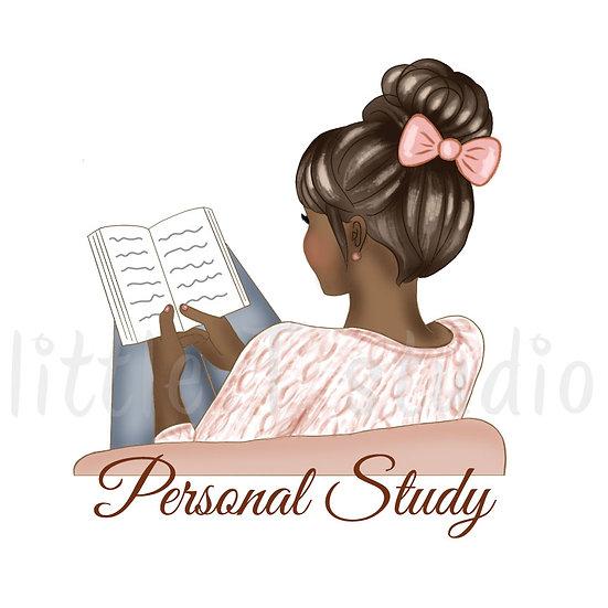 Personal Study Stickers - Dark Skin, Dark Hair - Style 1086