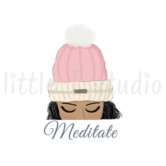 Meditate Stickers - Tan Skin, Black Hair - Winter Themed - Style 1125 or 317M