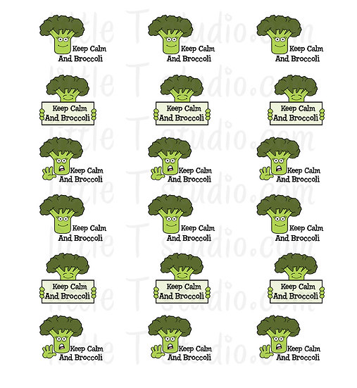 Keep Calm and Broccoli Mini Size Stickers - Style 185M