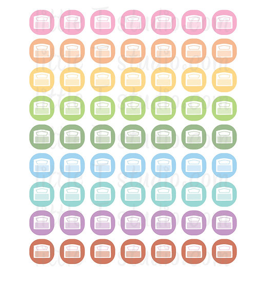 Weigh Scale Icon Micro Mini Stickers - Style 075M