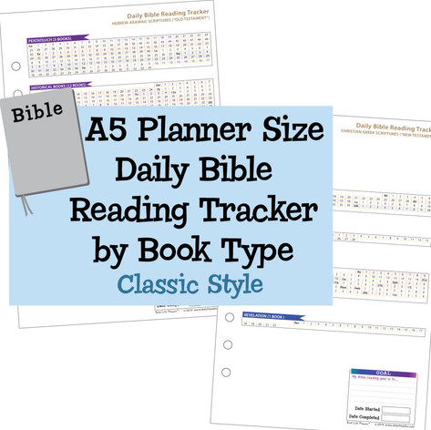 A5 Planner Size Daily Bible Reading Tracker by Book Type