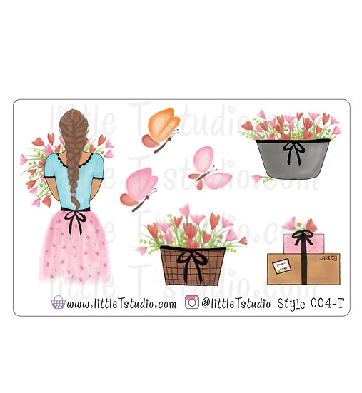 Spring Floral Girl Stickers - Style 004-T