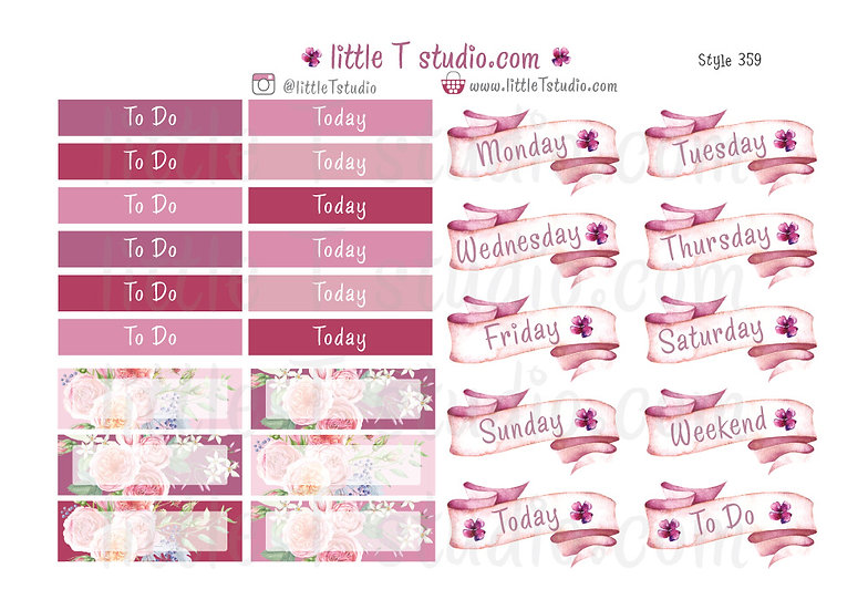 Lovely Paris - To Do, Today, Weekday Sticker Sheet Labels - Style 359