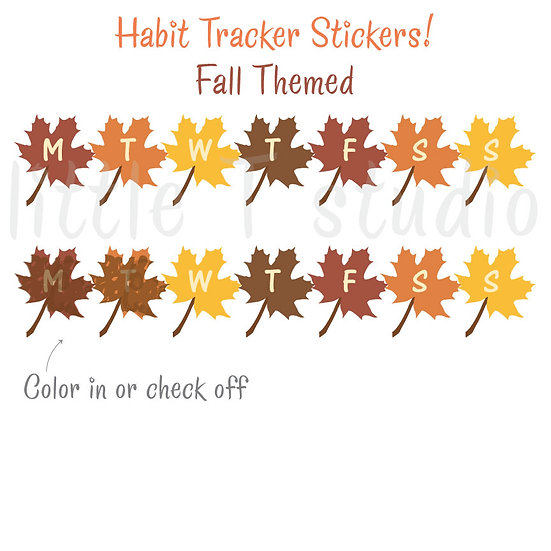 Daily, Weekly Habit Tracker Stickers - Fall Maple Leaf Theme - Style 506M