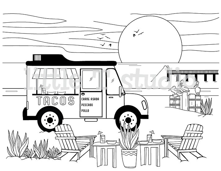 Taco Dinner on the Beach Coloring Page