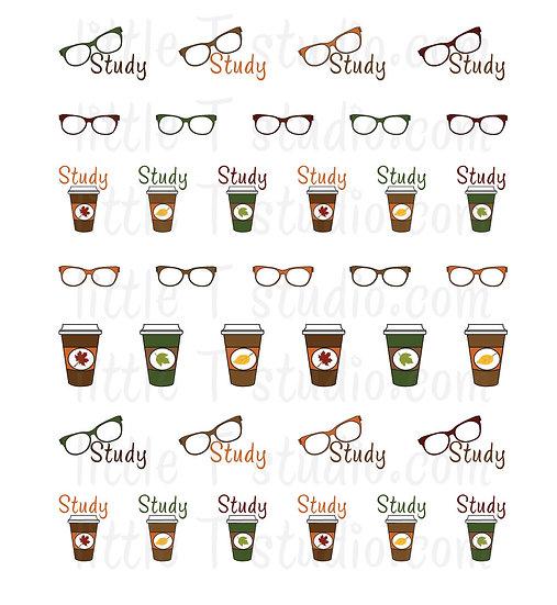 Fall Themed Study Reminder Mini Stickers - Style 042M