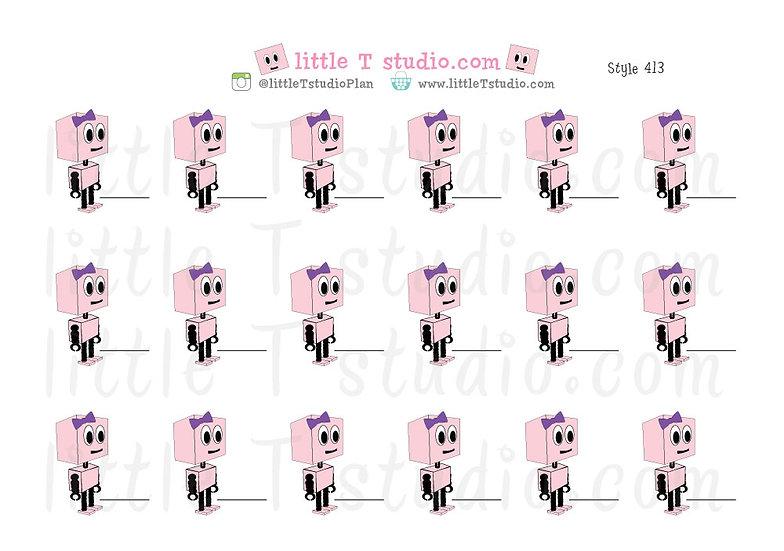 Busy Bots Girl - Reminder Sticker Set - Style 413