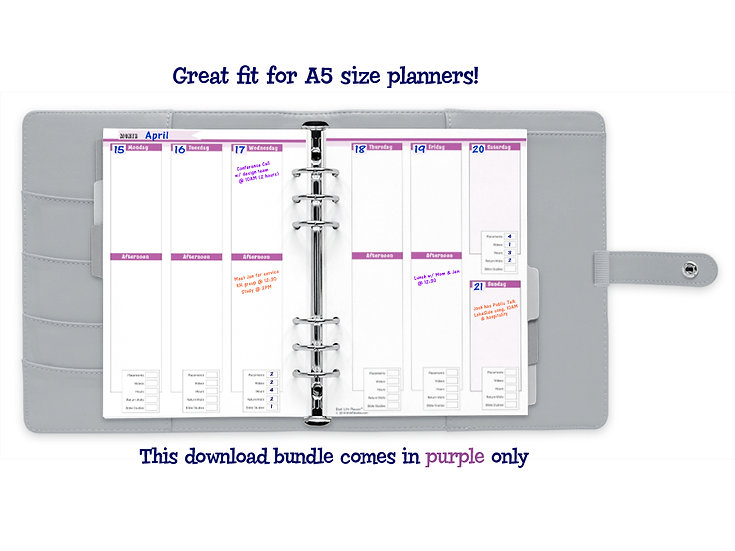A5 Vertical Weekly Calendar with Field Service Tracker PDF - Lovely Purple