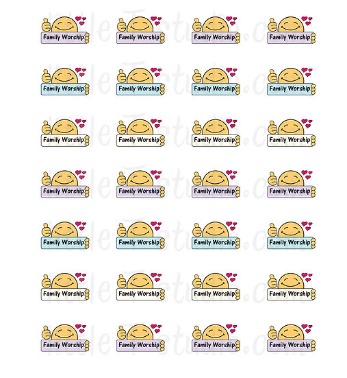 Family Worship Reminder Mini Stickers - Style 106M