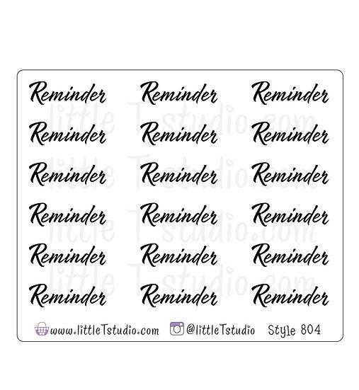 Reminder Script Stickers - Style 804