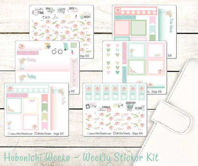 Hobonichi Weeks - Weekly Deluxe 6 Sheet Sticker Kit - Shabby Chic Styles 813-818