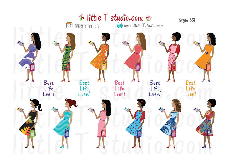 Best Life Ever! Field Service Multi-Cultural Girl Stickers - Style 651