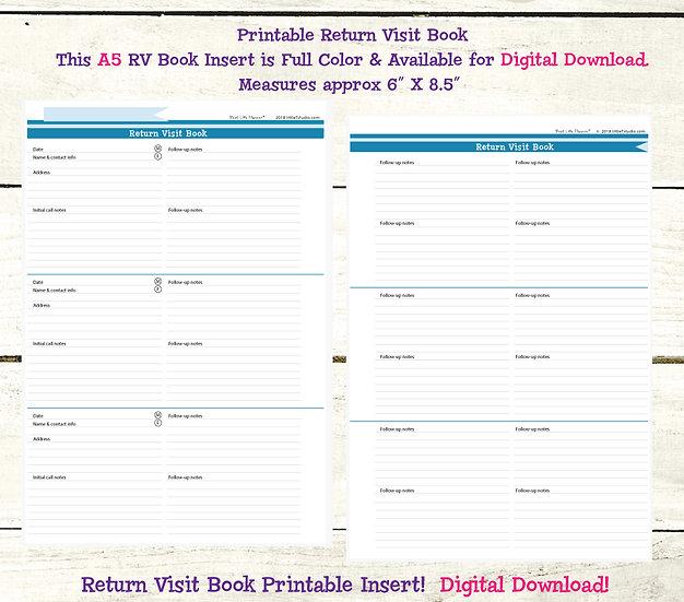 A5 Return Visit Book - Printable PDF - Shades of Summer