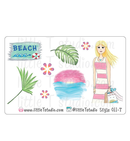 Beach Girl Stickers - Style 011-T