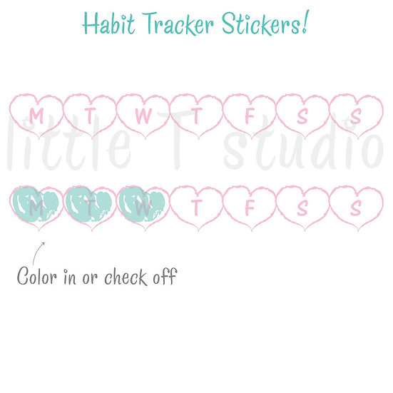 Daily, Weekly Heart Tracker Stickers, Heart Medicine, Habit - Style 507M