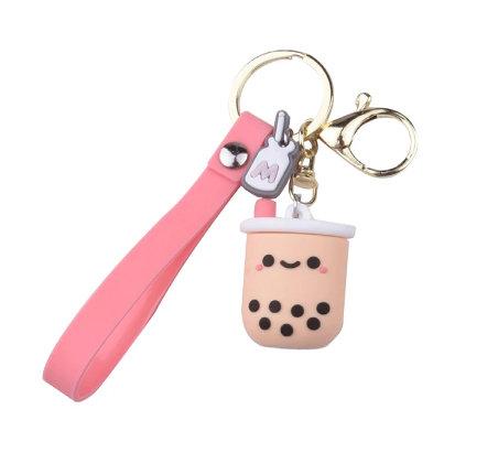 Boba Bubble Tea Silicone Key Chain with Strap