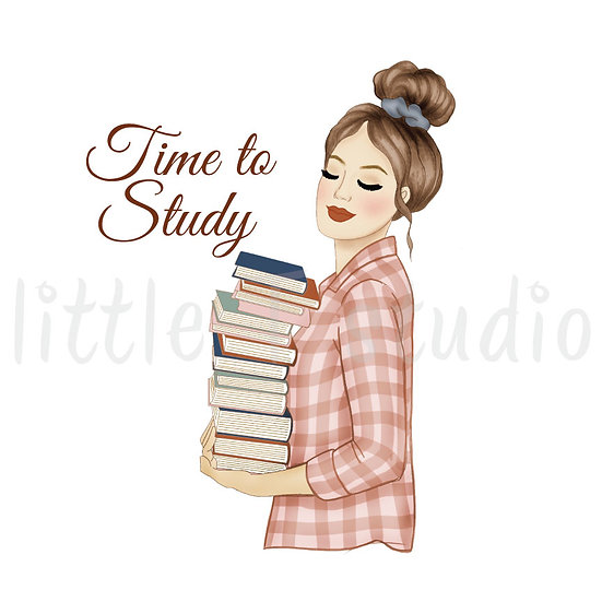 Time to Study Fashion Girl Stickers - Light Skin, Light Brown Hair - Style 1097
