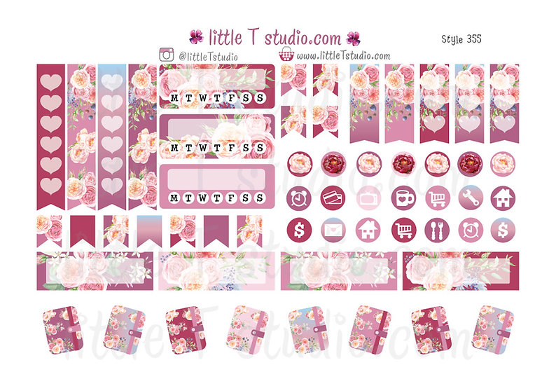 Lovely Paris - Floral Tab, Icon, Tracker, Entry Box Stickers - Style 355