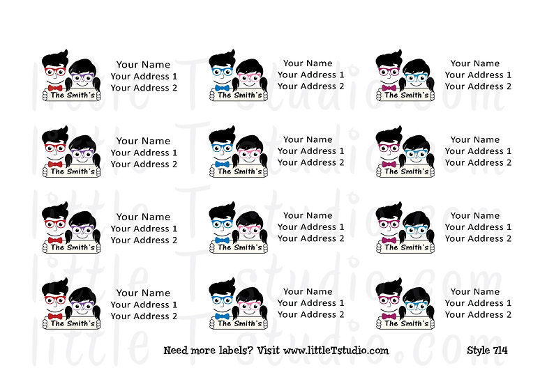Return Address Labels - Happy Family - Style 714