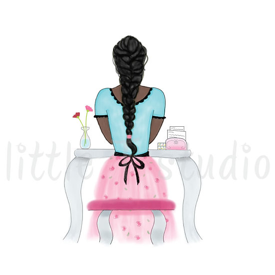 Letter Writing Day Stickers - Black Hair Dark Skin - Style 1022