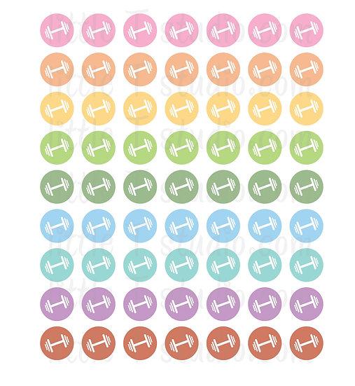 Workout Icon Micro Mini Stickers - Style 077M