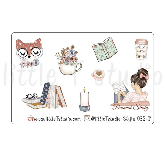 Personal Study Stickers - Light Skin, Dark Hair - Style 035-T