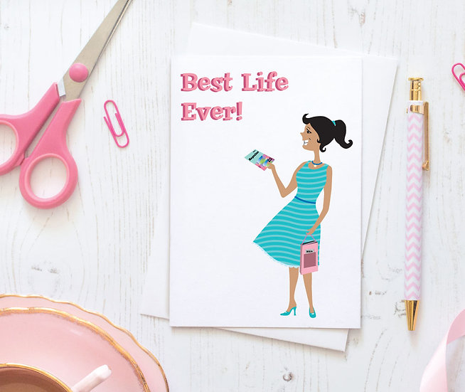 Print-Ready Best Life Greeting Card & Matching Envelope Set - Style 01DG