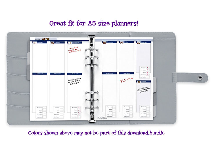 A5 Vertical Weekly Calendar with Field Service Tracker PDF - Classic Colors