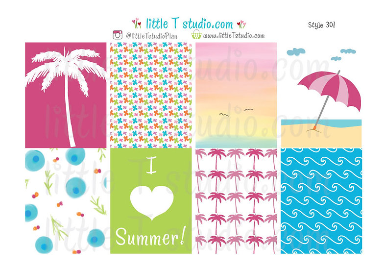 Erin Condren Vertical Box Stickers - I Love Summer! - Style 301