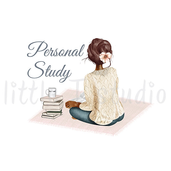 Cozy Home Dark Skin Brown Hair Personal Study Stickers - Style 1114 or 306M