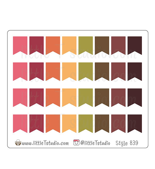 Small Flag Stickers - Fall Colors - Style 839