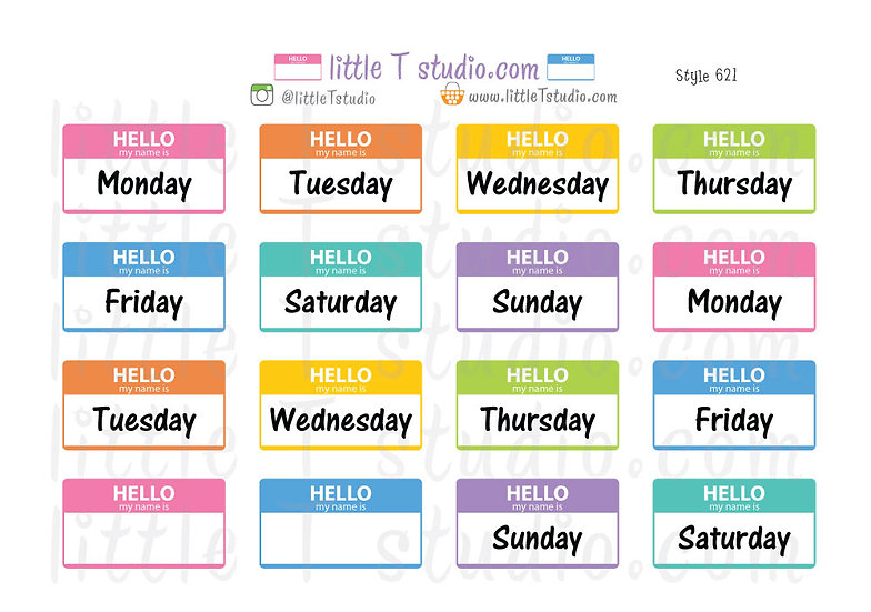 Hello my name is... Daily Header Stickers - Style 621