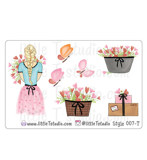 Spring Floral Girl Stickers - Style 007-T