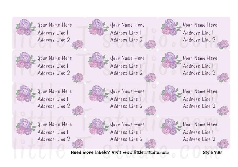 Return Address Labels - Purple Rose - Style 756