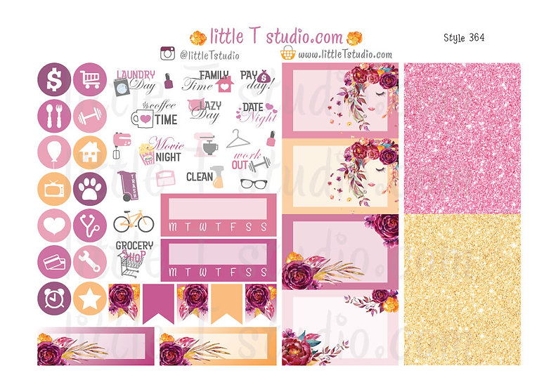 Floral Serenity - Tabs, Icons, Trackers, Box Stickers - Style 364