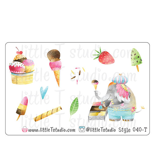 Ice Cream Social Stickers - Style 040-T