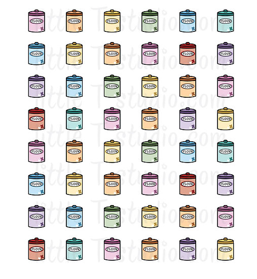 Flour Canister Baking Mini Size Icon Stickers - Style 139M