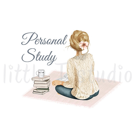 Cozy Home Blonde Hair Personal Study Stickers - Style 1108 or 496M
