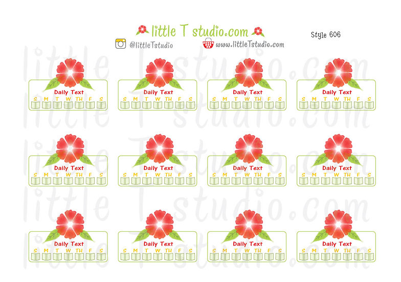 Read Daily Text Checklist Ruby Red Floral Reminder Stickers - Style 606