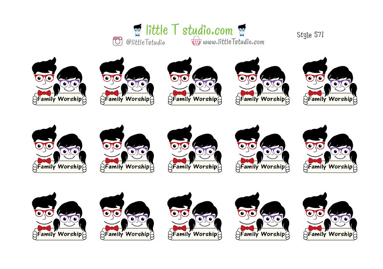 Family Worship Reminder Stickers - Style 571