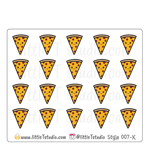 Kawaii Stickers - Pizza - Style 007-K