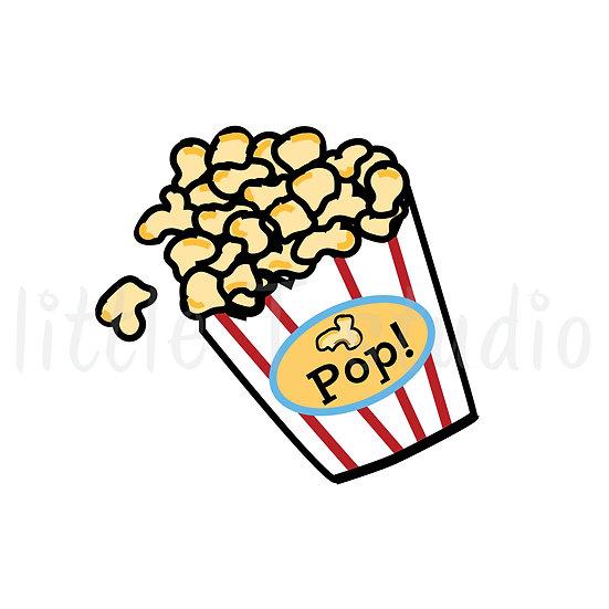Popcorn Bucket, Movie Mini Size Icon Stickers - Style 136M