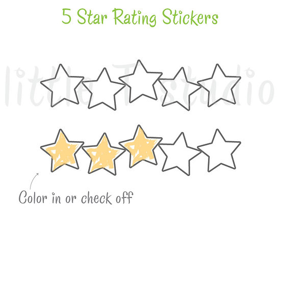 5 Star Rating Stickers - Movie, TV, Book, Meal Rating Review, Tracker- Style 501